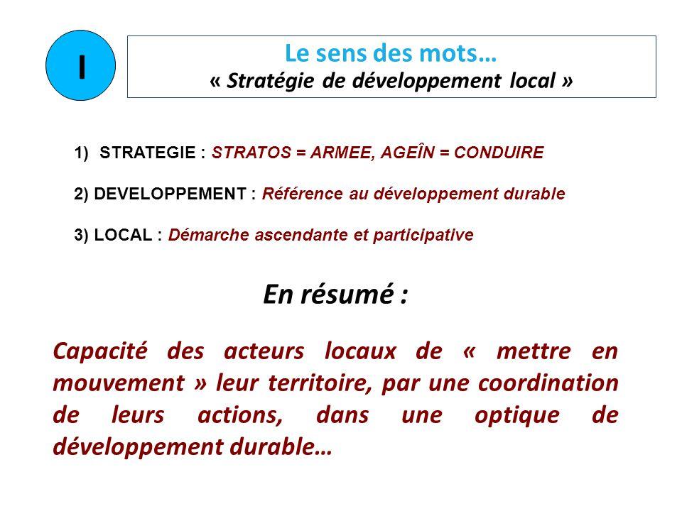 Le sens des mots… « Stratégie de développement local » 1)STRATEGIE : STRATOS = ARMEE, AGEÎN = CONDUIRE 2) DEVELOPPEMENT : Référence au développement d