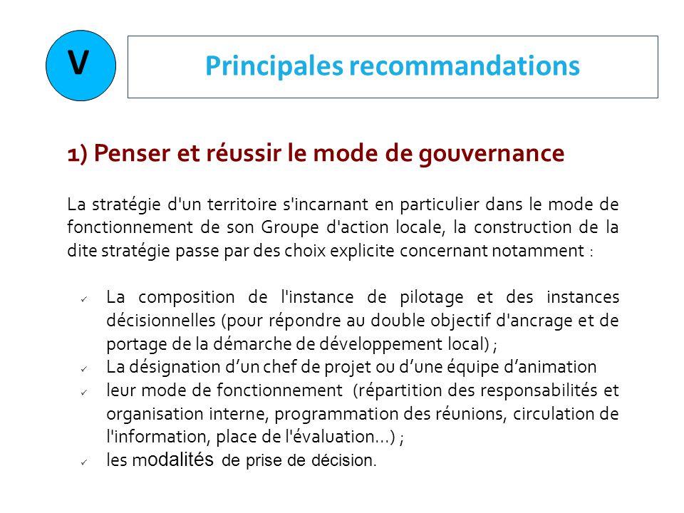 V Principales recommandations 1) Penser et réussir le mode de gouvernance La stratégie d'un territoire s'incarnant en particulier dans le mode de fonc