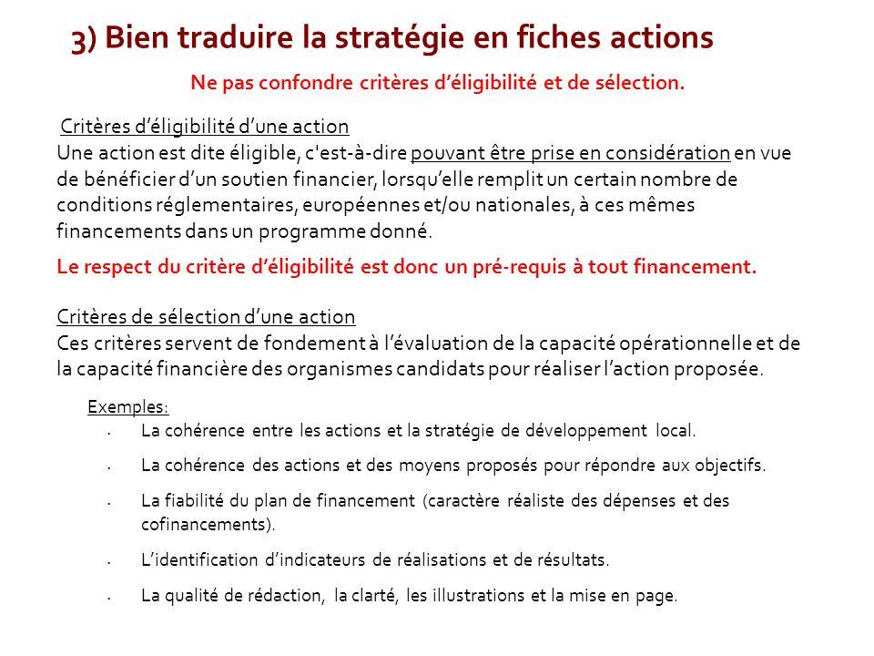 3) Bien traduire la stratégie en fiches actions Ne pas confondre critères d'éligibilité et de sélection. Critères d'éligibilité d'une action Une actio