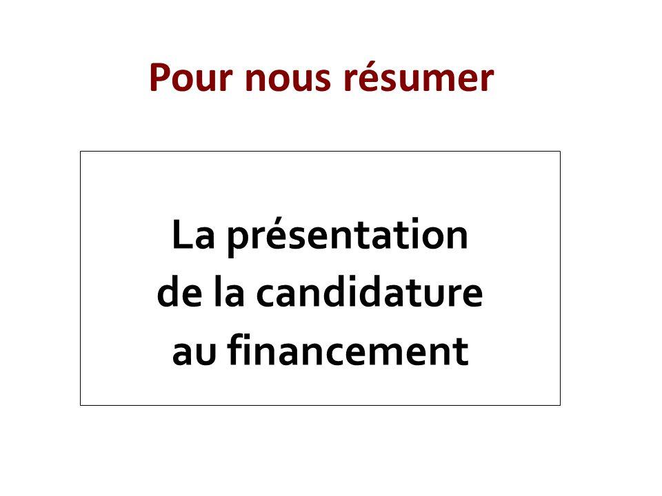 Pour nous résumer La présentation de la candidature au financement