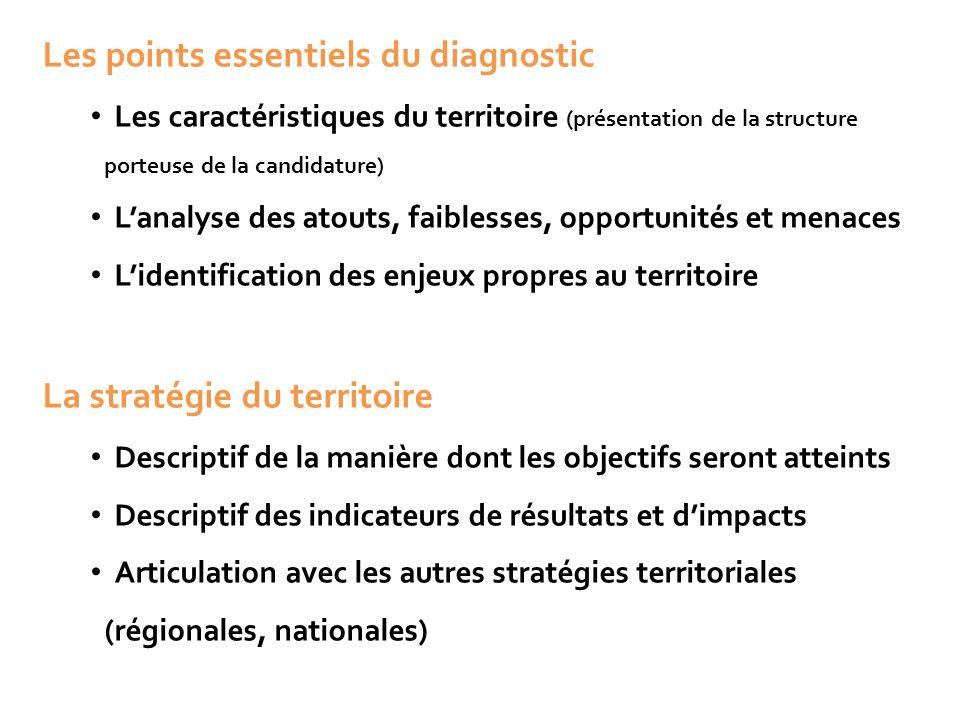 Les points essentiels du diagnostic Les caractéristiques du territoire (présentation de la structure porteuse de la candidature) L'analyse des atouts,