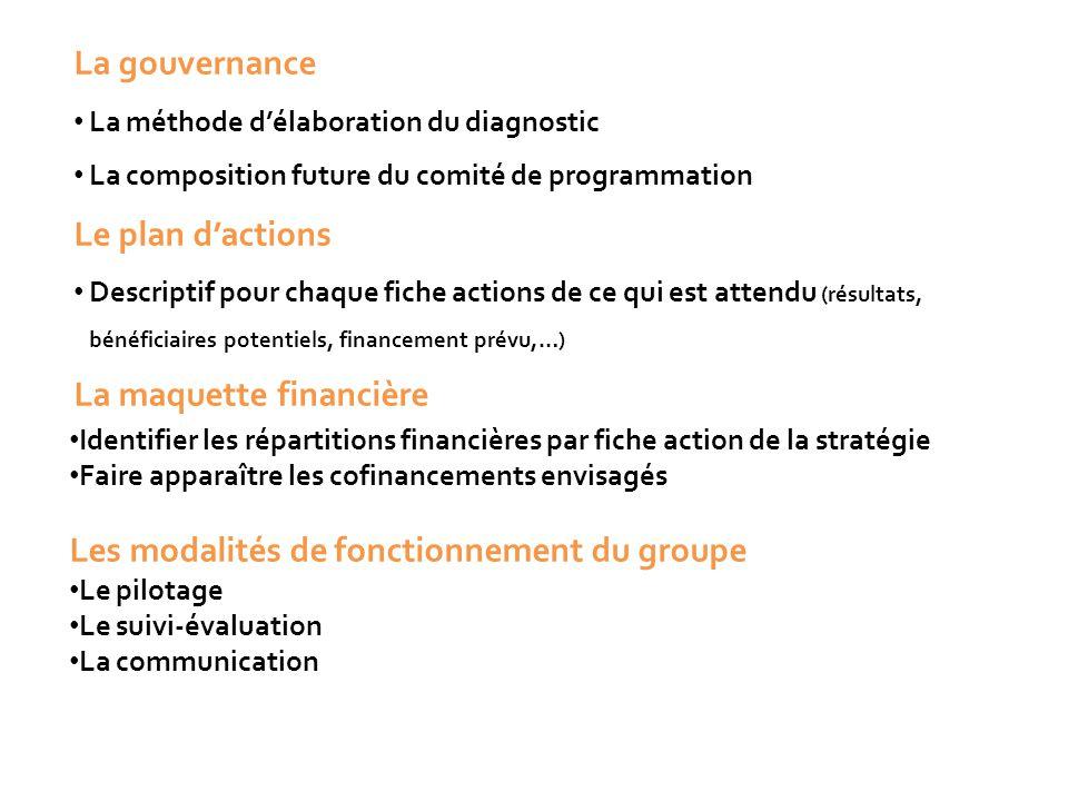 La gouvernance La méthode d'élaboration du diagnostic La composition future du comité de programmation Le plan d'actions Descriptif pour chaque fiche