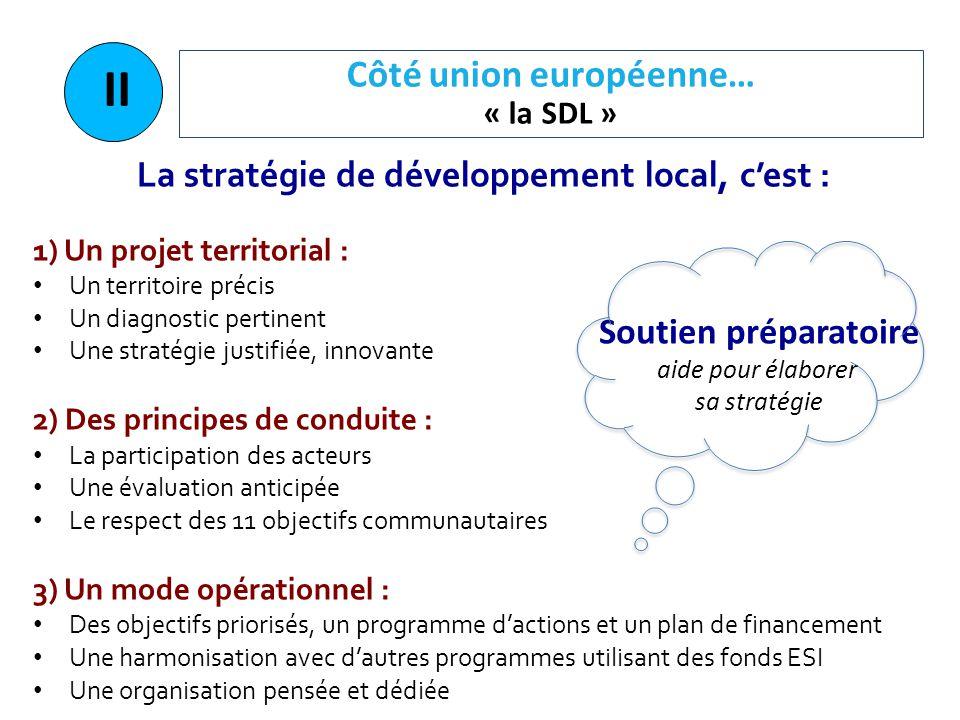 Côté union européenne… « la SDL » II La stratégie de développement local, c'est : 1) Un projet territorial : Un territoire précis Un diagnostic pertin