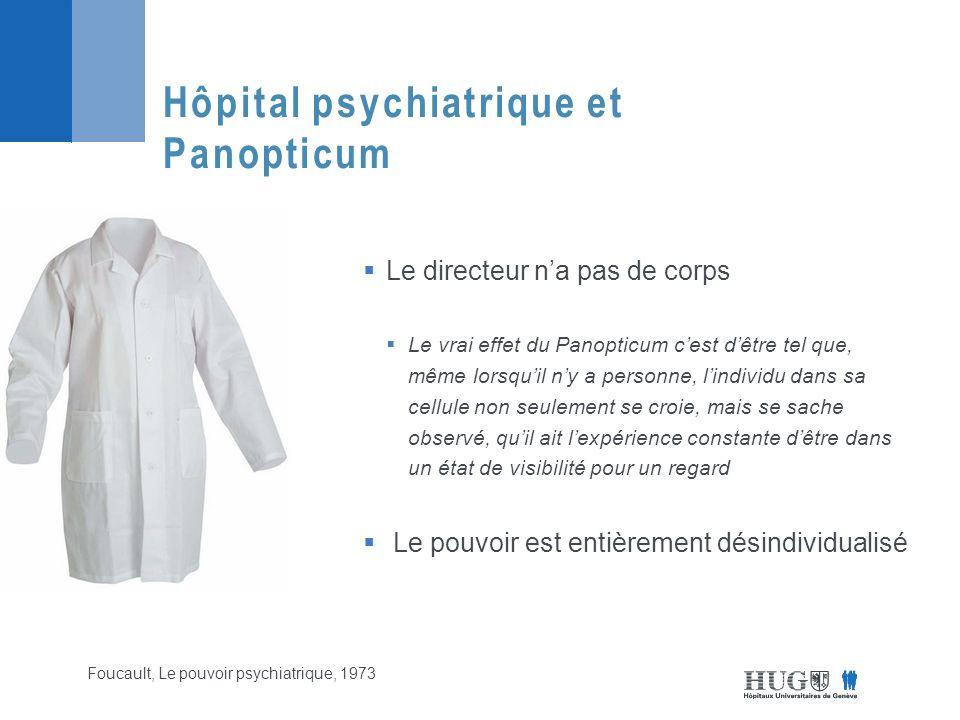  Le directeur n'a pas de corps  Le vrai effet du Panopticum c'est d'être tel que, même lorsqu'il n'y a personne, l'individu dans sa cellule non seulement se croie, mais se sache observé, qu'il ait l'expérience constante d'être dans un état de visibilité pour un regard  Le pouvoir est entièrement désindividualisé Hôpital psychiatrique et Panopticum Foucault, Le pouvoir psychiatrique, 1973