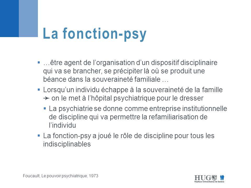  …être agent de l'organisation d'un dispositif disciplinaire qui va se brancher, se précipiter là où se produit une béance dans la souveraineté familiale …  Lorsqu'un individu échappe à la souveraineté de la famille ➛ on le met à l'hôpital psychiatrique pour le dresser  La psychiatrie se donne comme entreprise institutionnelle de discipline qui va permettre la refamiliarisation de l'individu  La fonction-psy a joué le rôle de discipline pour tous les indisciplinables La fonction-psy Foucault, Le pouvoir psychiatrique, 1973