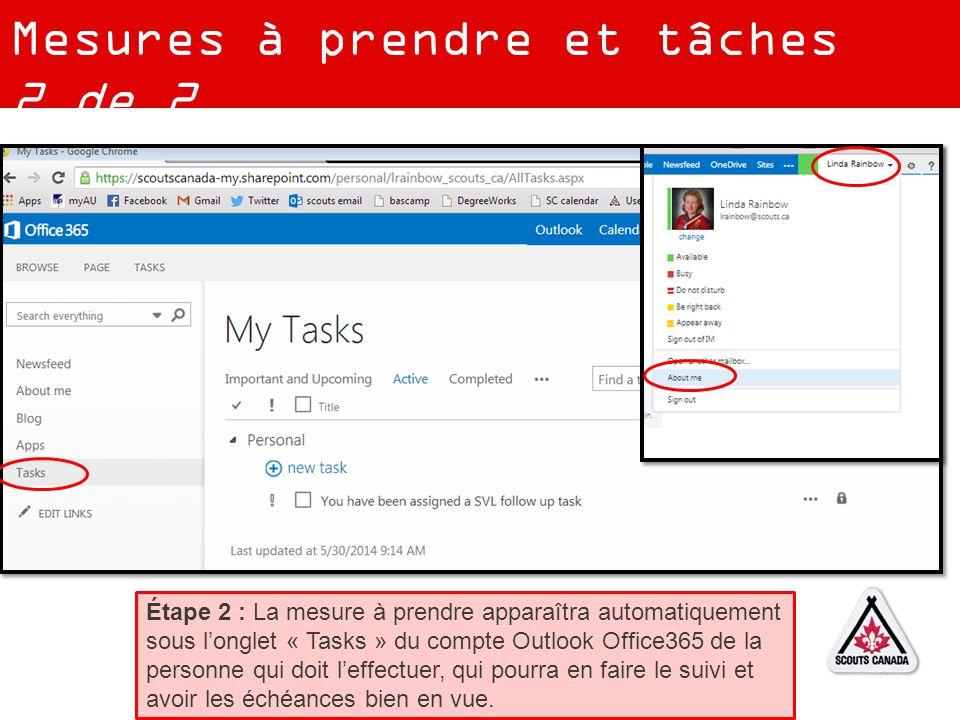 Mesures à prendre et tâches 2 de 2 Étape 2 : La mesure à prendre apparaîtra automatiquement sous l'onglet « Tasks » du compte Outlook Office365 de la personne qui doit l'effectuer, qui pourra en faire le suivi et avoir les échéances bien en vue.