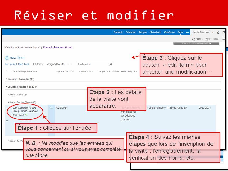 Réviser et modifier Étape 1 : Cliquez sur l'entrée. Étape 2 : Les détails de la visite vont apparaître. Étape 3 : Cliquez sur le bouton « edit item »