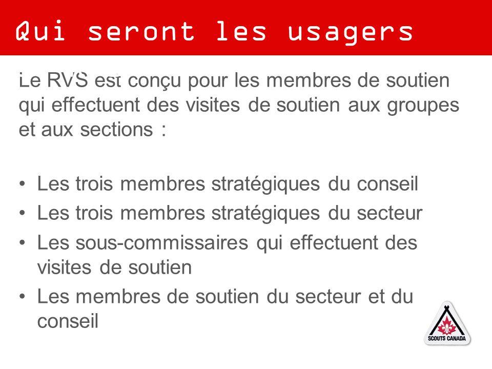 Le RVS est conçu pour les membres de soutien qui effectuent des visites de soutien aux groupes et aux sections : Les trois membres stratégiques du con