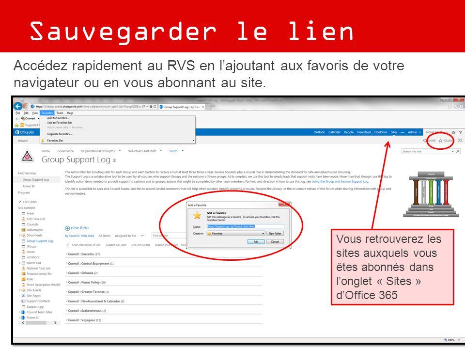 Sauvegarder le lien Accédez rapidement au RVS en l'ajoutant aux favoris de votre navigateur ou en vous abonnant au site. Vous retrouverez les sites au
