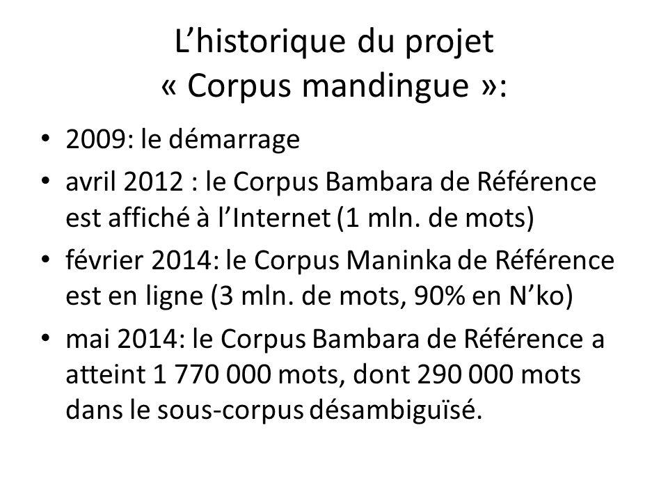 L'historique du projet « Corpus mandingue »: 2009: le démarrage avril 2012 : le Corpus Bambara de Référence est affiché à l'Internet (1 mln.