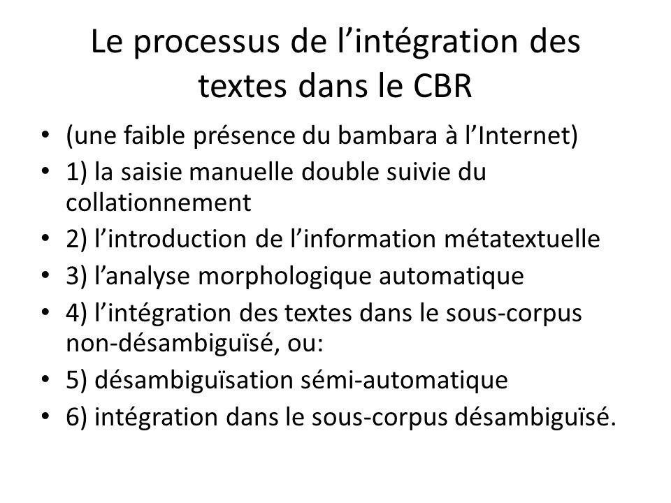 Le processus de l'intégration des textes dans le CBR (une faible présence du bambara à l'Internet) 1) la saisie manuelle double suivie du collationnement 2) l'introduction de l'information métatextuelle 3) l'analyse morphologique automatique 4) l'intégration des textes dans le sous-corpus non-désambiguïsé, ou: 5) désambiguïsation sémi-automatique 6) intégration dans le sous-corpus désambiguïsé.