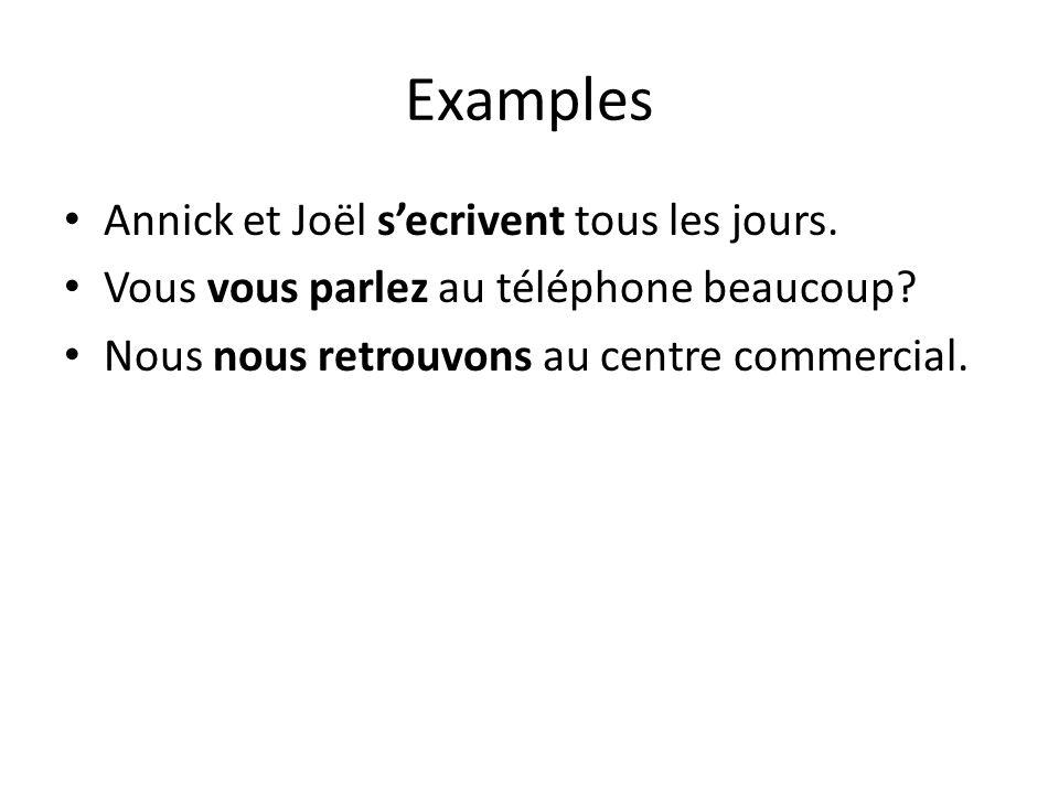 Examples Annick et Joël s'ecrivent tous les jours. Vous vous parlez au téléphone beaucoup? Nous nous retrouvons au centre commercial.
