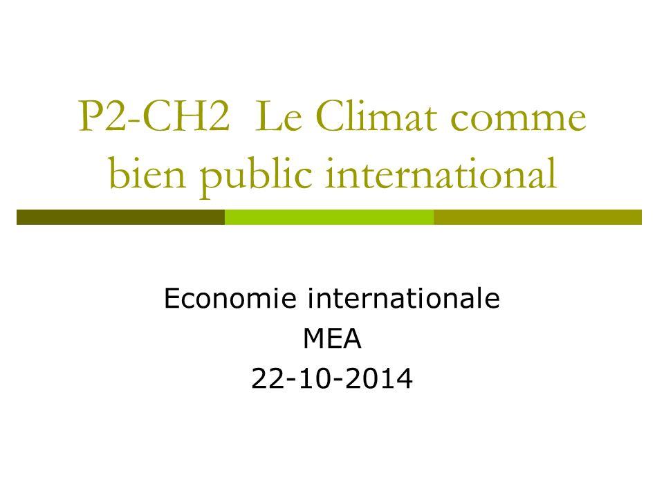 P2-CH2 Le Climat comme bien public international Economie internationale MEA 22-10-2014