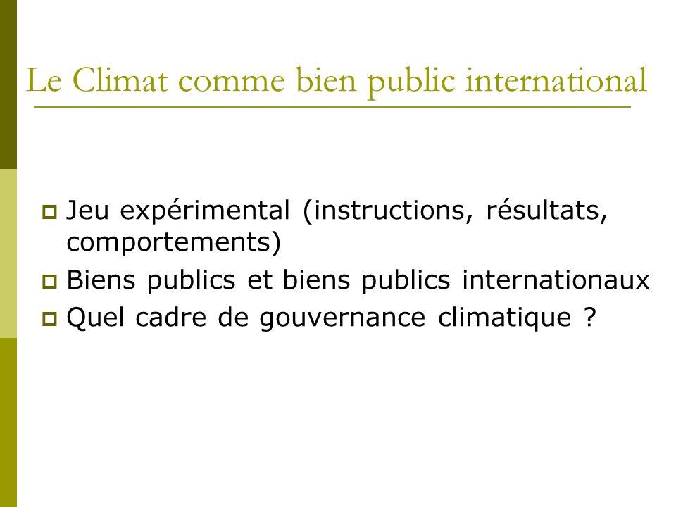 Le Climat comme bien public international  Jeu expérimental (instructions, résultats, comportements)  Biens publics et biens publics internationaux  Quel cadre de gouvernance climatique