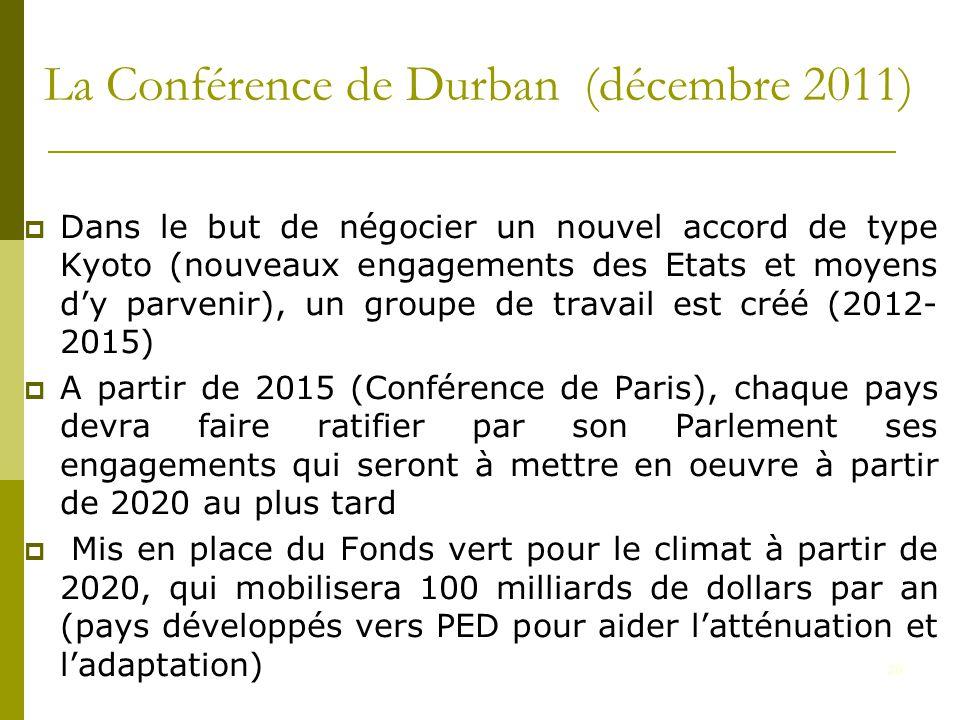 20 La Conférence de Durban (décembre 2011)  Dans le but de négocier un nouvel accord de type Kyoto (nouveaux engagements des Etats et moyens d'y parvenir), un groupe de travail est créé (2012- 2015)  A partir de 2015 (Conférence de Paris), chaque pays devra faire ratifier par son Parlement ses engagements qui seront à mettre en oeuvre à partir de 2020 au plus tard  Mis en place du Fonds vert pour le climat à partir de 2020, qui mobilisera 100 milliards de dollars par an (pays développés vers PED pour aider l'atténuation et l'adaptation)