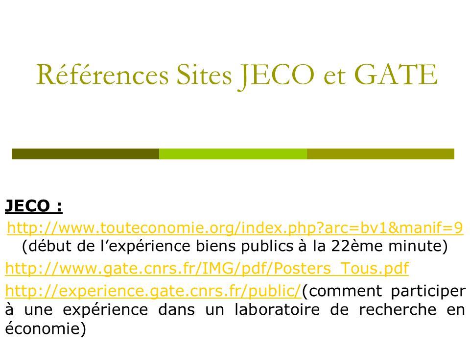 Références Sites JECO et GATE JECO : http://www.touteconomie.org/index.php arc=bv1&manif=9 http://www.touteconomie.org/index.php arc=bv1&manif=9 (début de l'expérience biens publics à la 22ème minute) http://www.gate.cnrs.fr/IMG/pdf/Posters_Tous.pdf http://experience.gate.cnrs.fr/public/http://experience.gate.cnrs.fr/public/(comment participer à une expérience dans un laboratoire de recherche en économie)
