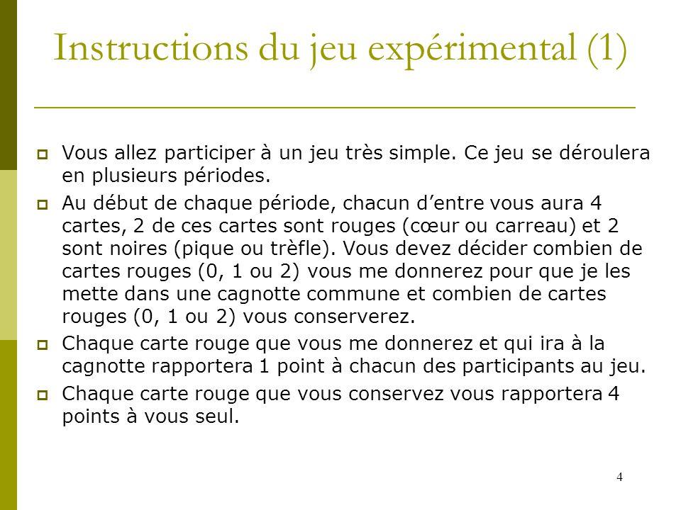 4 Instructions du jeu expérimental (1)  Vous allez participer à un jeu très simple.