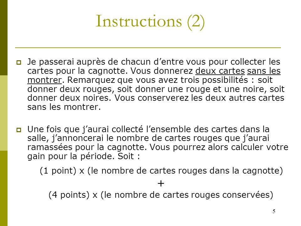 5 Instructions (2)  Je passerai auprès de chacun d'entre vous pour collecter les cartes pour la cagnotte.