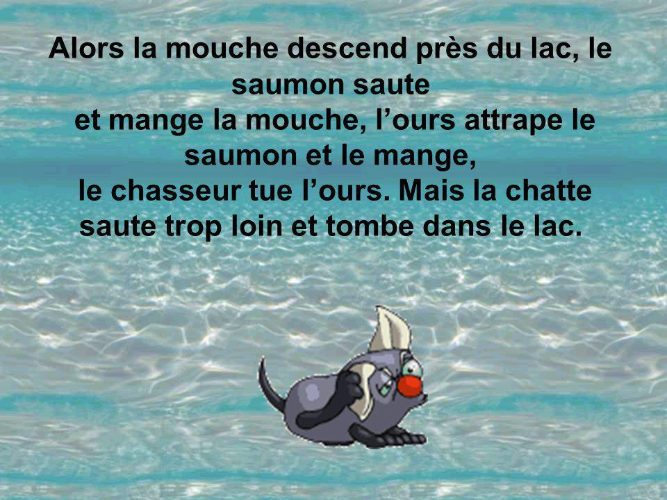 Alors la mouche descend près du lac, le saumon saute et mange la mouche, l'ours attrape le saumon et le mange, le chasseur tue l'ours.