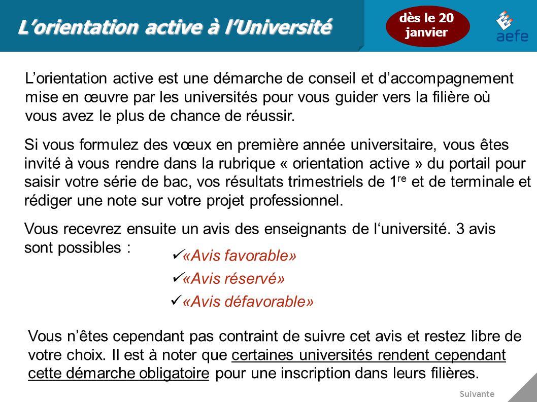 L'orientation active à l'Université L'orientation active est une démarche de conseil et d'accompagnement mise en œuvre par les universités pour vous g