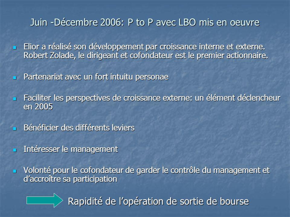 Juin -Décembre 2006: P to P avec LBO mis en oeuvre Elior a réalisé son développement par croissance interne et externe. Robert Zolade, le dirigeant et
