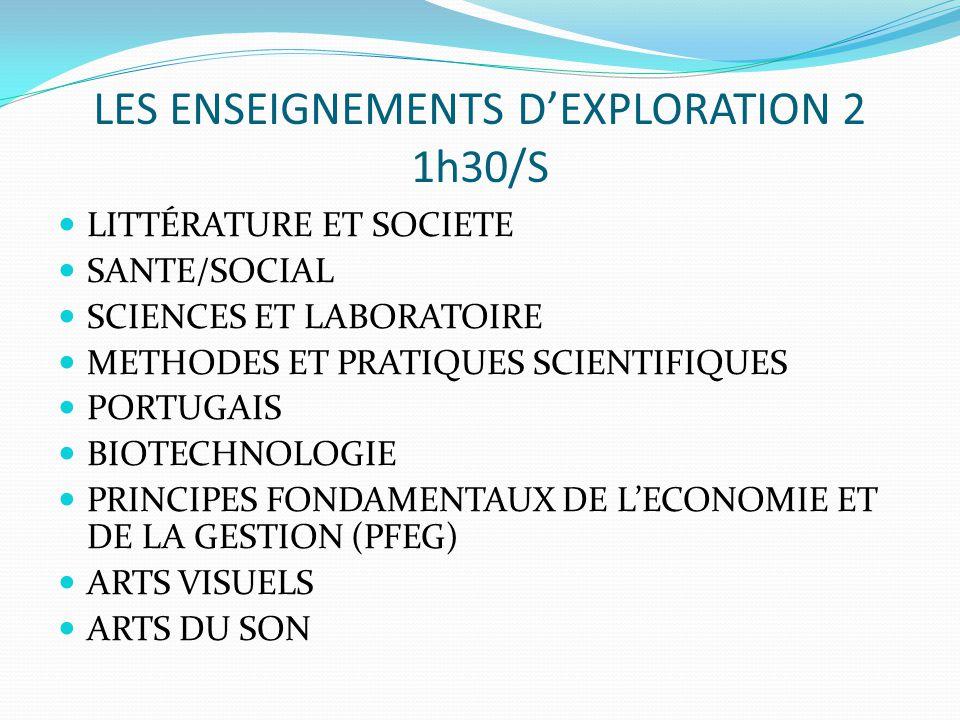 LES ENSEIGNEMENTS D'EXPLORATION 2 1h30/S LITTÉRATURE ET SOCIETE SANTE/SOCIAL SCIENCES ET LABORATOIRE METHODES ET PRATIQUES SCIENTIFIQUES PORTUGAIS BIOTECHNOLOGIE PRINCIPES FONDAMENTAUX DE L'ECONOMIE ET DE LA GESTION (PFEG) ARTS VISUELS ARTS DU SON