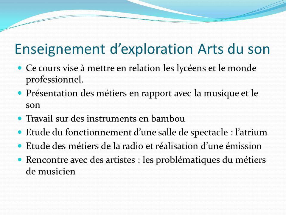 Enseignement d'exploration Arts du son Ce cours vise à mettre en relation les lycéens et le monde professionnel. Présentation des métiers en rapport a