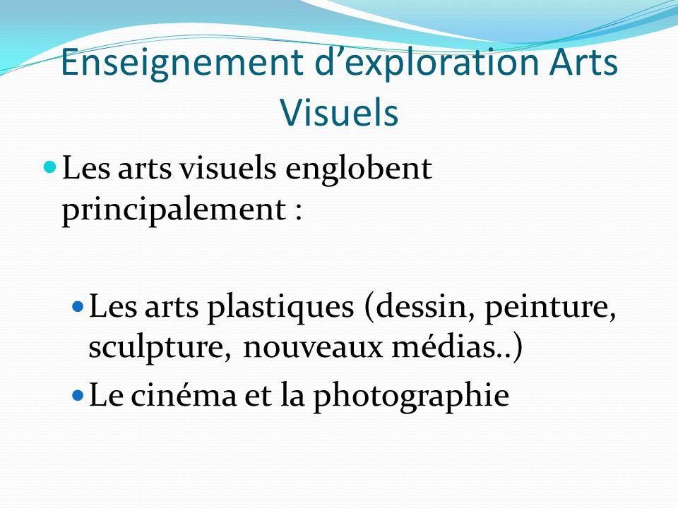 Enseignement d'exploration Arts Visuels Les arts visuels englobent principalement : Les arts plastiques (dessin, peinture, sculpture, nouveaux médias..) Le cinéma et la photographie