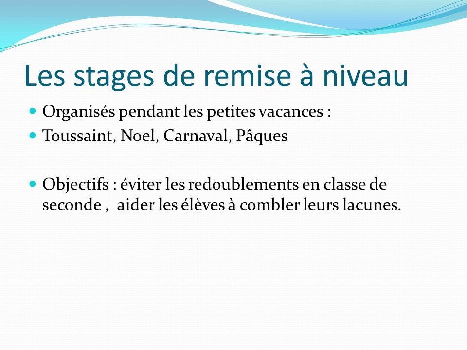 Les stages de remise à niveau Organisés pendant les petites vacances : Toussaint, Noel, Carnaval, Pâques Objectifs : éviter les redoublements en class