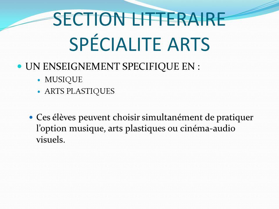 SECTION LITTERAIRE SPÉCIALITE ARTS UN ENSEIGNEMENT SPECIFIQUE EN : MUSIQUE ARTS PLASTIQUES Ces élèves peuvent choisir simultanément de pratiquer l'option musique, arts plastiques ou cinéma-audio visuels.
