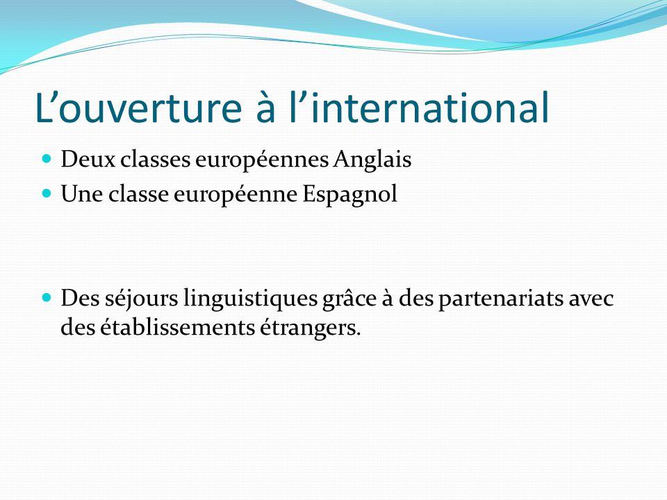 L'ouverture à l'international Deux classes européennes Anglais Une classe européenne Espagnol Des séjours linguistiques grâce à des partenariats avec des établissements étrangers.