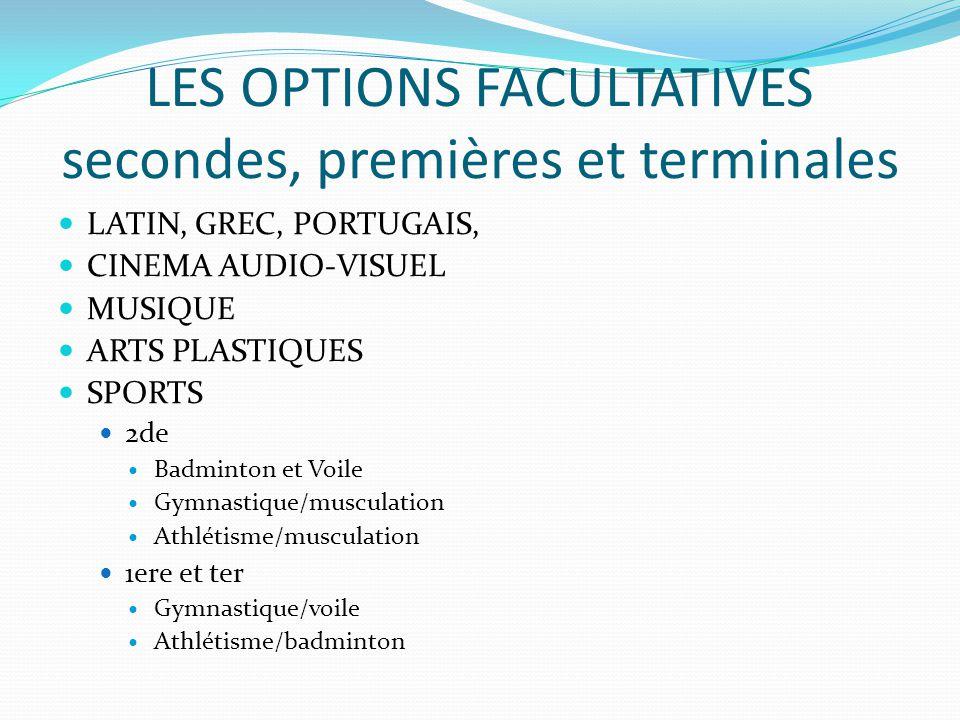 LES OPTIONS FACULTATIVES secondes, premières et terminales LATIN, GREC, PORTUGAIS, CINEMA AUDIO-VISUEL MUSIQUE ARTS PLASTIQUES SPORTS 2de Badminton et