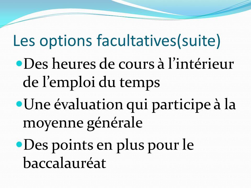 Les options facultatives(suite) Des heures de cours à l'intérieur de l'emploi du temps Une évaluation qui participe à la moyenne générale Des points en plus pour le baccalauréat