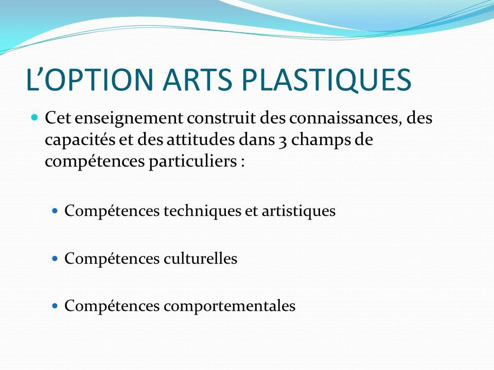 L'OPTION ARTS PLASTIQUES Cet enseignement construit des connaissances, des capacités et des attitudes dans 3 champs de compétences particuliers : Compétences techniques et artistiques Compétences culturelles Compétences comportementales