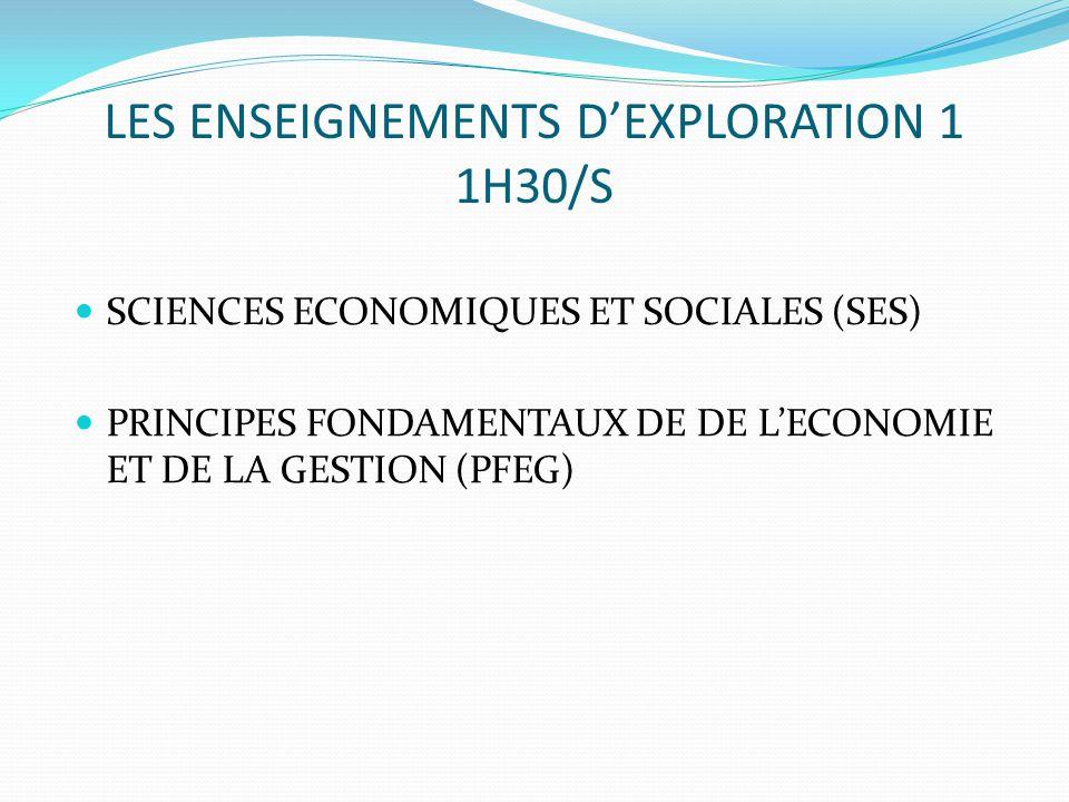 LES ENSEIGNEMENTS D'EXPLORATION 1 1H30/S SCIENCES ECONOMIQUES ET SOCIALES (SES) PRINCIPES FONDAMENTAUX DE DE L'ECONOMIE ET DE LA GESTION (PFEG)