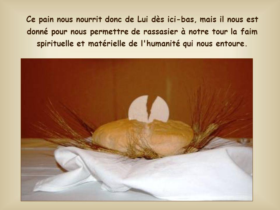 « C'est moi qui suis le pain de vie ; celui qui vient à moi n'aura pas faim ; celui qui croit en moi jamais n'aura soif. »