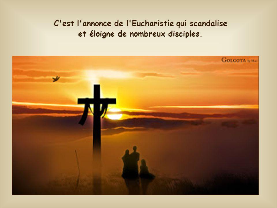 Cependant, le discours devient mystérieux et difficile lorsque, plus loin, Jésus dit de lui-même : « Et le pain que je donnerai c'est ma chair, donnée