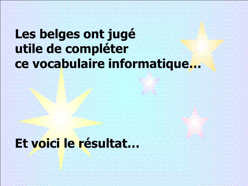 Les belges ont jugé utile de compléter ce vocabulaire informatique… Et voici le résultat…