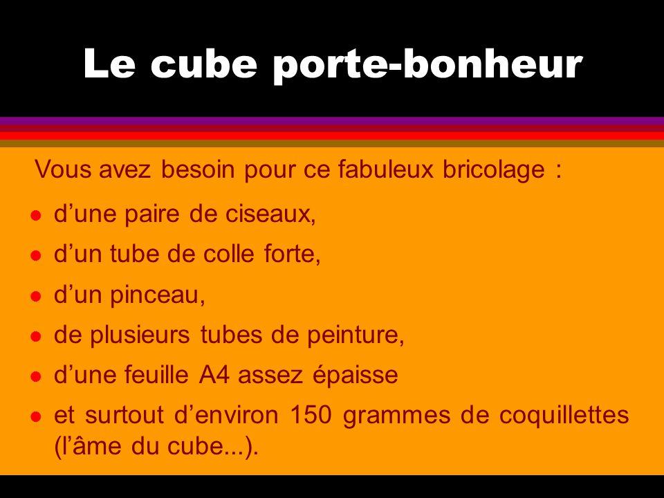 Le cube porte-bonheur l d'une paire de ciseaux, l d'un tube de colle forte, l d'un pinceau, l de plusieurs tubes de peinture, l d'une feuille A4 assez épaisse l et surtout d'environ 150 grammes de coquillettes (l'âme du cube...).