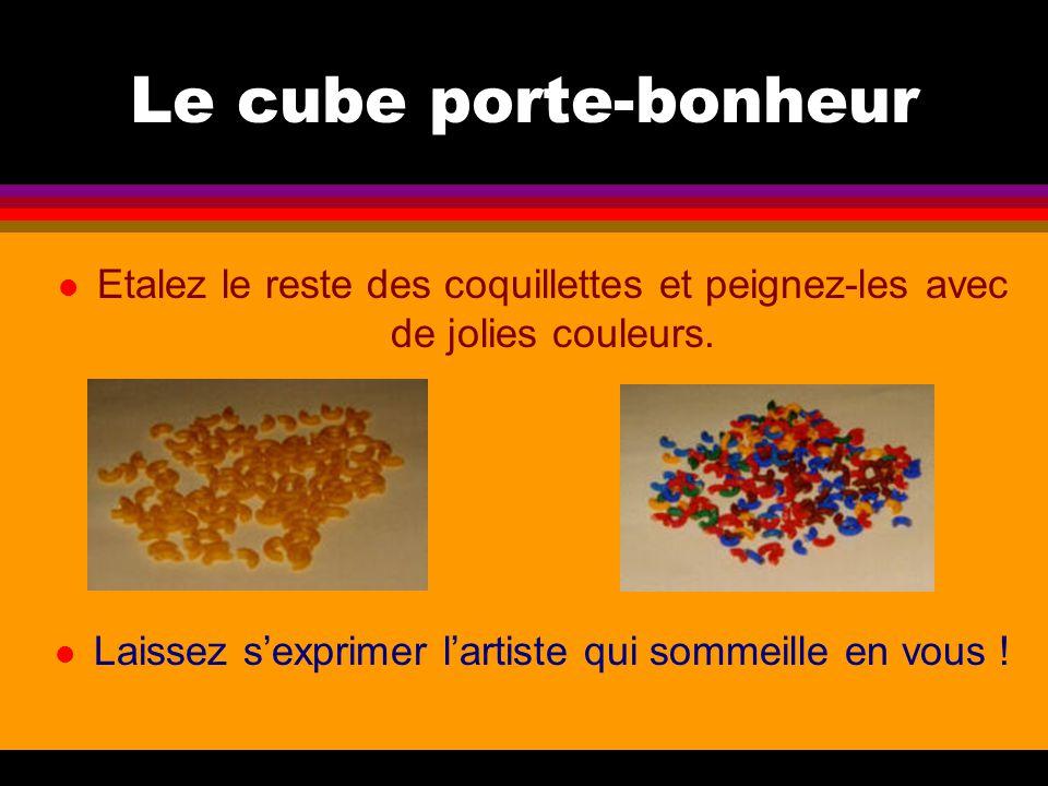 Le cube porte-bonheur l Etalez le reste des coquillettes et peignez-les avec de jolies couleurs. l Laissez s'exprimer l'artiste qui sommeille en vous