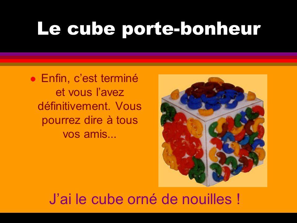 Le cube porte-bonheur l Enfin, c'est terminé et vous l'avez définitivement. Vous pourrez dire à tous vos amis... J'ai le cube orné de nouilles !