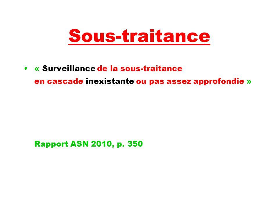 Sous-traitance « Surveillance de la sous-traitance en cascade inexistante ou pas assez approfondie » Rapport ASN 2010, p.