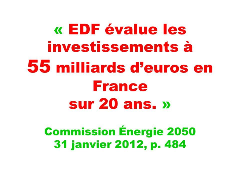 « EDF évalue les investissements à 55 milliards d'euros en France sur 20 ans.