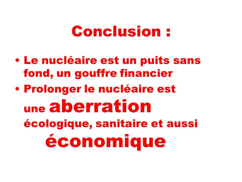 Conclusion : Le nucléaire est un puits sans fond, un gouffre financier Prolonger le nucléaire est une aberration écologique, sanitaire et aussi économique