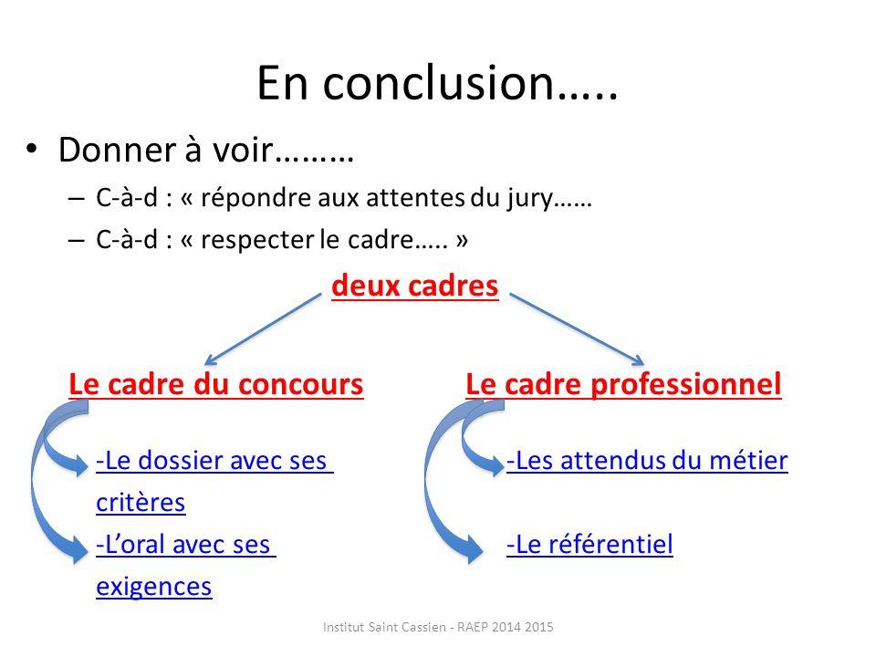 En conclusion…..