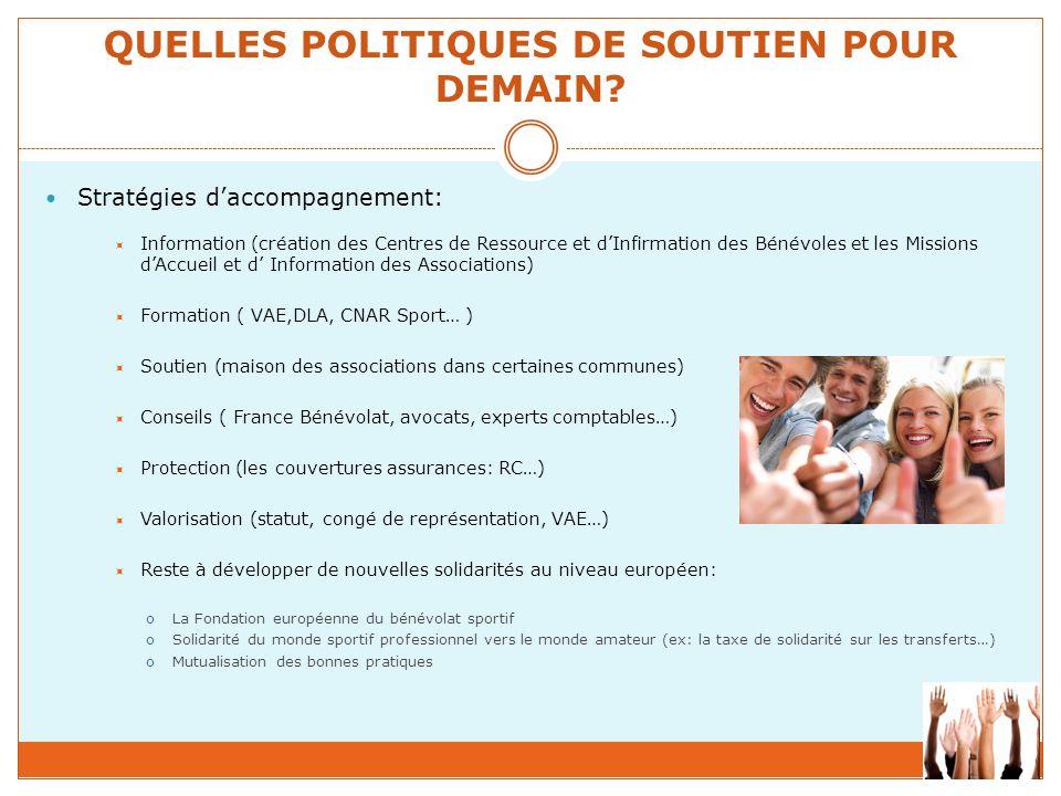 QUELLES POLITIQUES DE SOUTIEN POUR DEMAIN? Stratégies d'accompagnement:  Information (création des Centres de Ressource et d'Infirmation des Bénévole