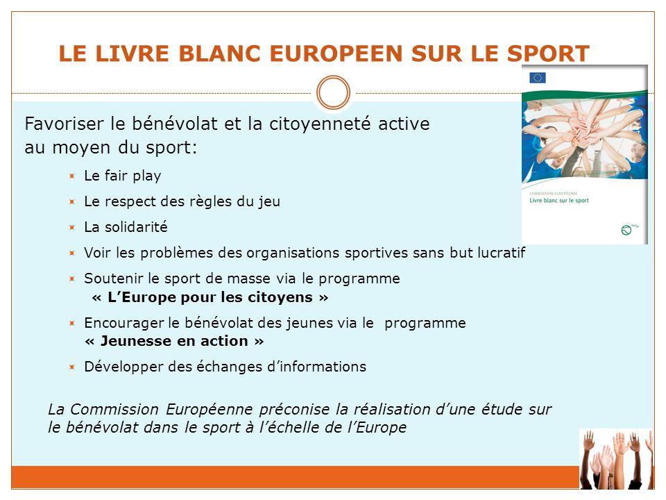 LE LIVRE BLANC EUROPEEN SUR LE SPORT Favoriser le bénévolat et la citoyenneté active au moyen du sport:  Le fair play  Le respect des règles du jeu