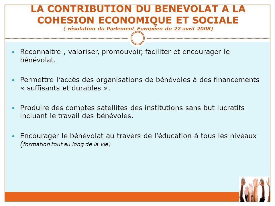 LA CONTRIBUTION DU BENEVOLAT A LA COHESION ECONOMIQUE ET SOCIALE ( résolution du Parlement Européen du 22 avril 2008) Reconnaitre, valoriser, promouvo