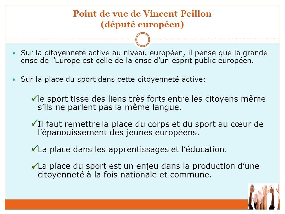 Point de vue de Vincent Peillon (député européen) Sur la citoyenneté active au niveau européen, il pense que la grande crise de l'Europe est celle de