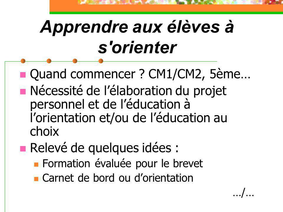 Apprendre aux élèves à s'orienter Quand commencer ? CM1/CM2, 5ème… Nécessité de l'élaboration du projet personnel et de l'éducation à l'orientation et